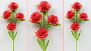 How to Make Beautiful Rose Stick With Color Paper - DIY: Paper Flower Stick Roses #EzzyCraftsDIY