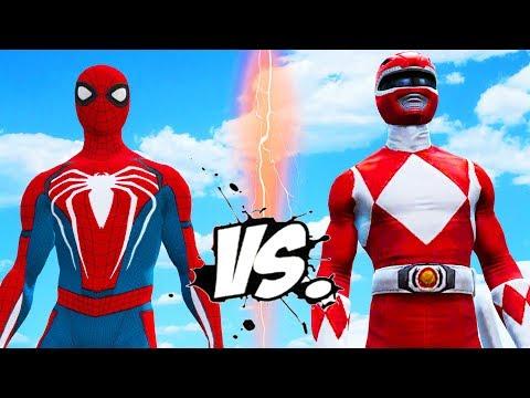 SPIDERMAN VS RED MIGHTY MORPHIN POWER RANGER