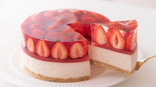 いちごのレアチーズケーキの作り方 No-Bake Strawberry Cheesecake*Eggless & Without oven|HidaMari Cooking