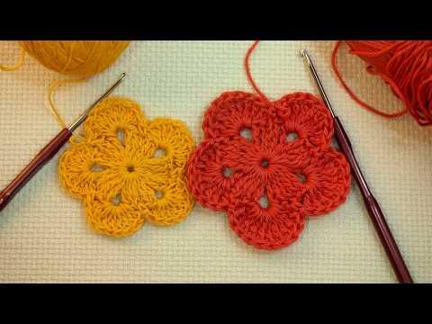 🌸 Простой цветок крючком  Вязание для начинающих Урок 189