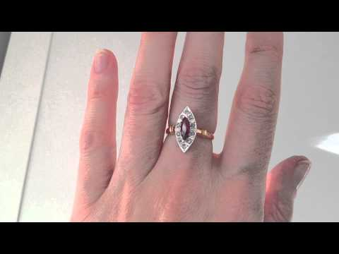 www.katebadge.com.au - Antique Ruby & Diamond Ring in 15ct