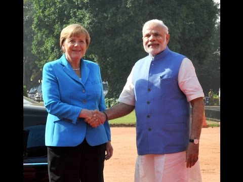PM Modi with Chancellor of Germany, Angela Merkel at the Ceremonial Reception