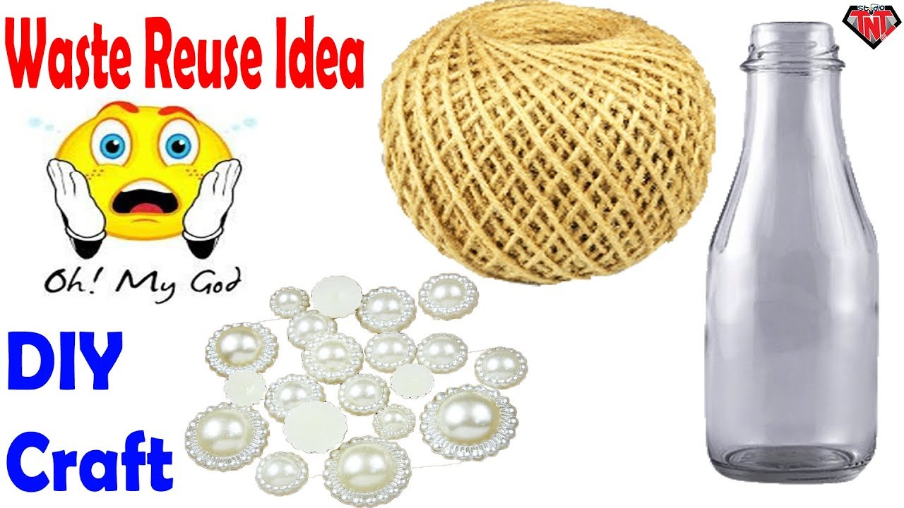 How To Make A Decoration Empty Bottle Out of Rope    DIY Wine Glass ...