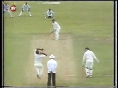 Most unplayable over of fast bowling on a green pitch - Courtney Walsh 1995