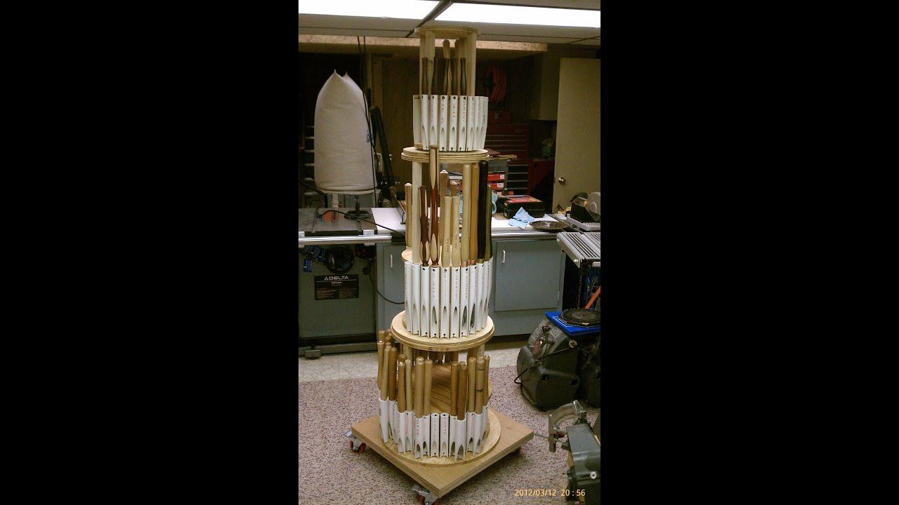 The Twisting Tower of Turning - Wood Lathe Tool Storage Rack - YouTube