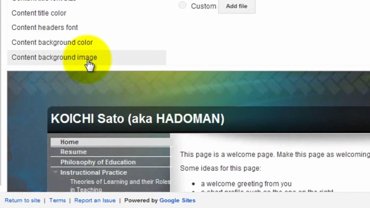 google site change background design youtube