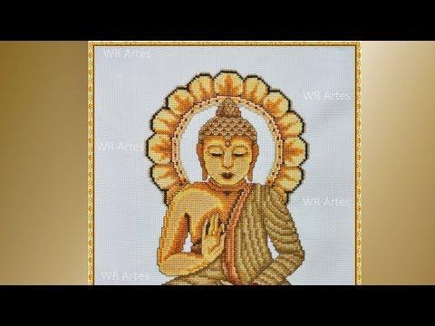 Quadro Buda com ponto cruz ( Fotos do começo ao fim)