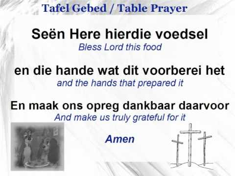 afrikaans table prayer