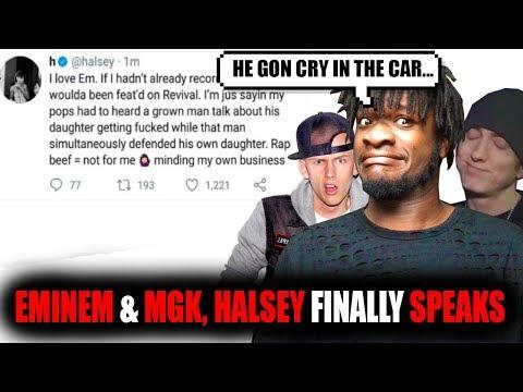 Eminem & Machine Gun Kelly...Halsey Finally Speaks Out!