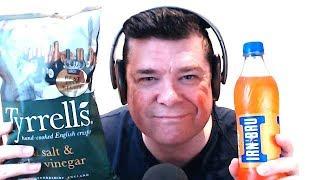 ASMR Eating Tyrrell's Sea Salt & Cider Vinegar Crisps And Drinking Irn Bru