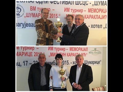 "Završen šahovski festival ""Šumarice 2015"""