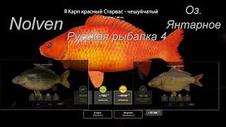 Русская рыбалка 4 Озеро Янтарное Карп Линейный Карп Чешуйчатый Карп красный Старвас Чешуйчатый фарм