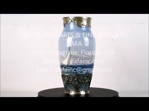 A Rare Royal Copenhagen Sterling Silver Mounted Vase