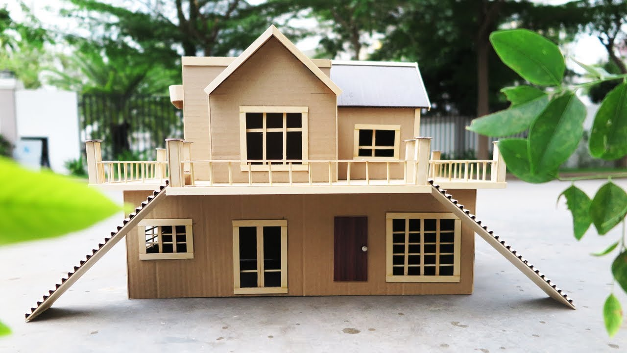 Building Cardboard Villa House DIY at Home - Dream House ...
