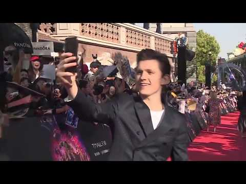 Avengers Infinity War Red Carpet Robert Downey Jr. Tom Hiddleston and Tom Holland With Fans