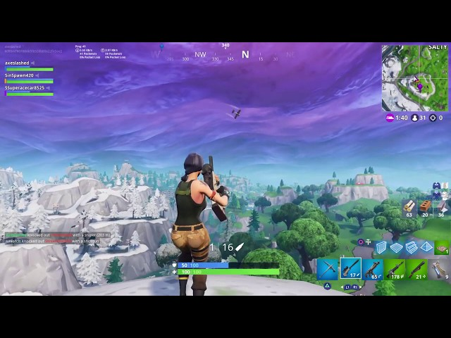 Beautiful Fortnite Sniper Shot Hitting Player off Moving Plane in midair