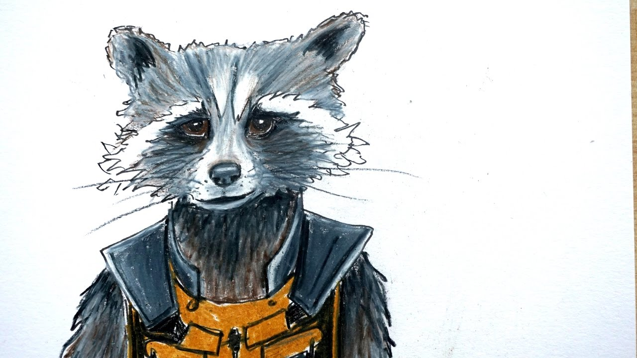 How To Draw Rocket Raccoon From Guardians Of The Galaxy With Colored