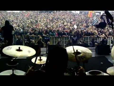 Dagoba hellfest behind the drumkit angle