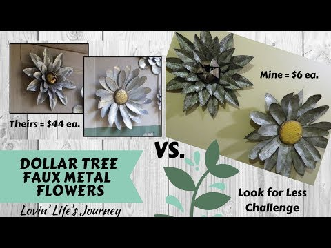 Dollar Tree DIY Faux Metal Flowers | Wall Decor | March Look For Less Challenge