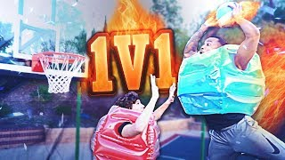 2HYPE 1V1 TRAMPOLINE MINI-HOOP BASKETBALL CHALLENGE WHILE WEARING BUBBLE WRAP DUNK FEST!