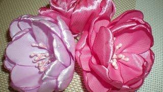 Цветы на свадебную бутоньерку. Свадьба в цвете Фуксии. Часть 1. / /Ribbon Flower / DIY Kanzashi