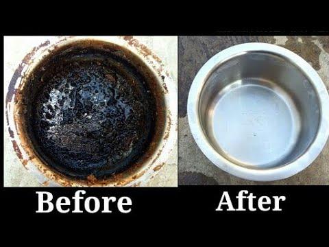 जले हुए बर्तन चमकाये बिलकुल नए जैसे/How to clean burn utensils/How to clean burn steel pan in hindi