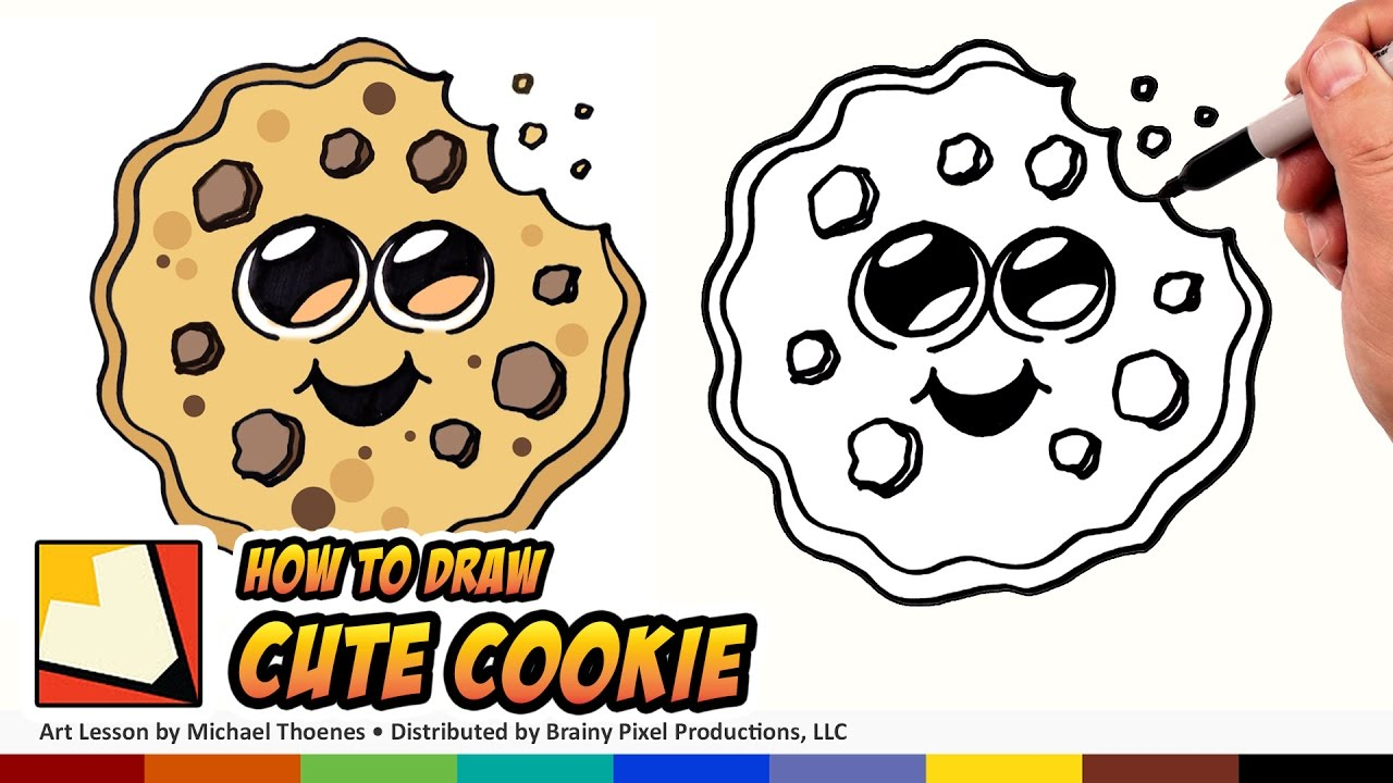 How To Draw Cute Cartoon Cookie Emoji An Easy Cute