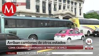 Arriban camiones de otros estados al AMLOfest