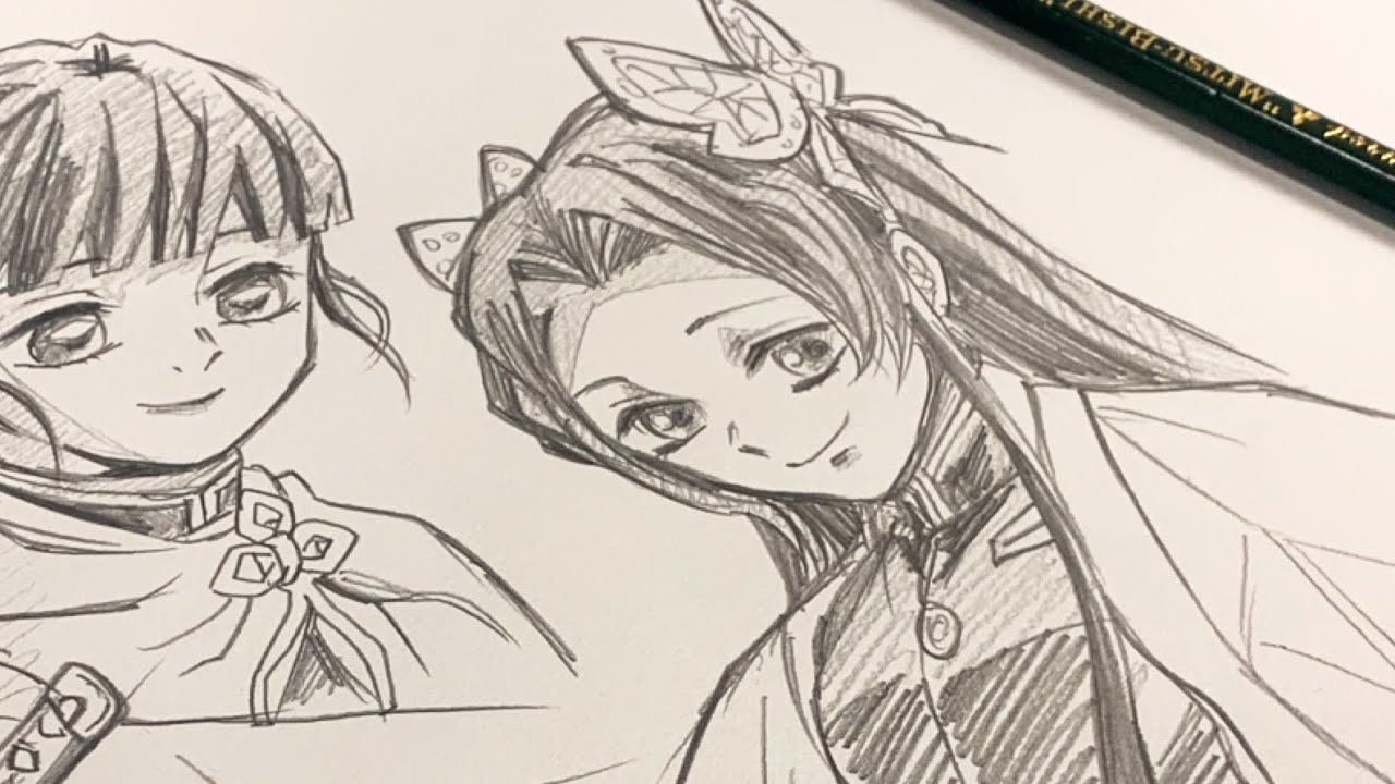 【鬼滅の刃】胡蝶カナエ・カナヲone pencil drawing
