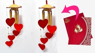 DIY Wind Chime/jhumar/Wall Hanging From waste wedding card at Home|Jhumar craft idea|DIY Room Decor
