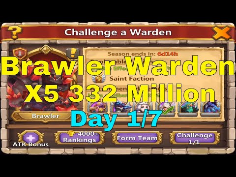 Castle Clash Challenge A Warden Brawler Warden X5 332 Million Day 1/7