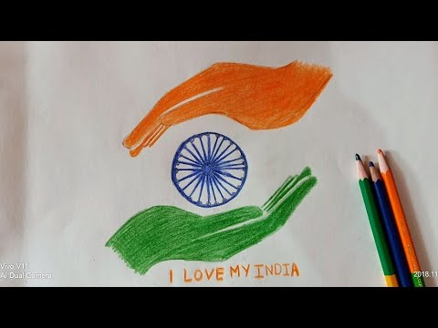 How to draw republic day /i love my India drawing