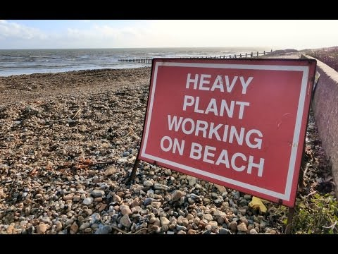 Sea Defence Work in West Sussex UK with  heavy plant