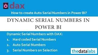 داكس وظائف لتوليد السيارات الرقم التسلسلي في السلطة BI الجدول