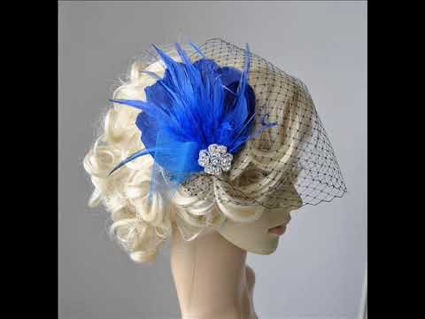 Blue feather fascinator with veil feather hair clip diy 1920s blue feather fascinator with veil feather hair clip diy 1920s headpiece solutioingenieria Gallery