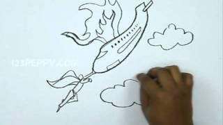 How to Draw a Super Hero Saving a Plane