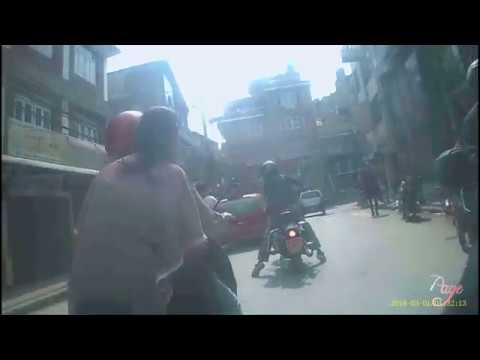 Teen girl near to get smashed by bike