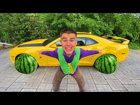 Mr. Joе SWAPPED Car WHEEL for Large WATERMELON VS Red Man on Camaro 13+