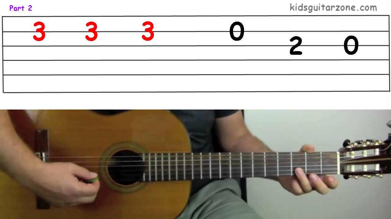 Guitar Lesson 4e The Wheels On The Bus Youtube