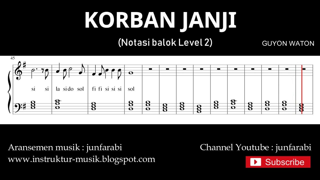 Korban Janji Guyon Waton Not Balok Piano Level 2 Doremi Solmisasi Youtube