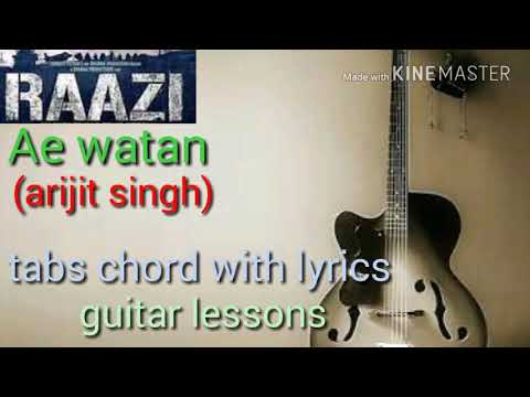 Raazi Ae watan arijit singh guitar chord lyrics with tabs guitar lessons