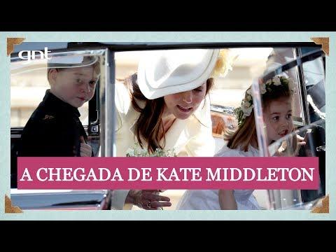 Kate Middleton chega à capela de St. George com os filhos George e Charlotte   Casamento Real