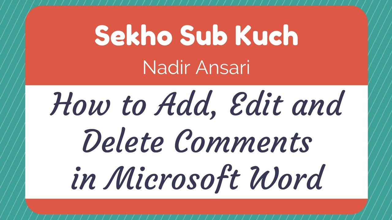 How To Add Edit And Delete Comments In Microsoft Word Urdu Hindi