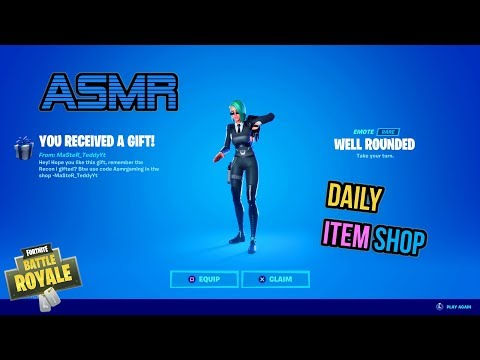 ASMR | Fortnite NEW Well Rounded Emote Gift! Daily Item Shop Update 🎮🎧 Relaxing Whispering 😴💤