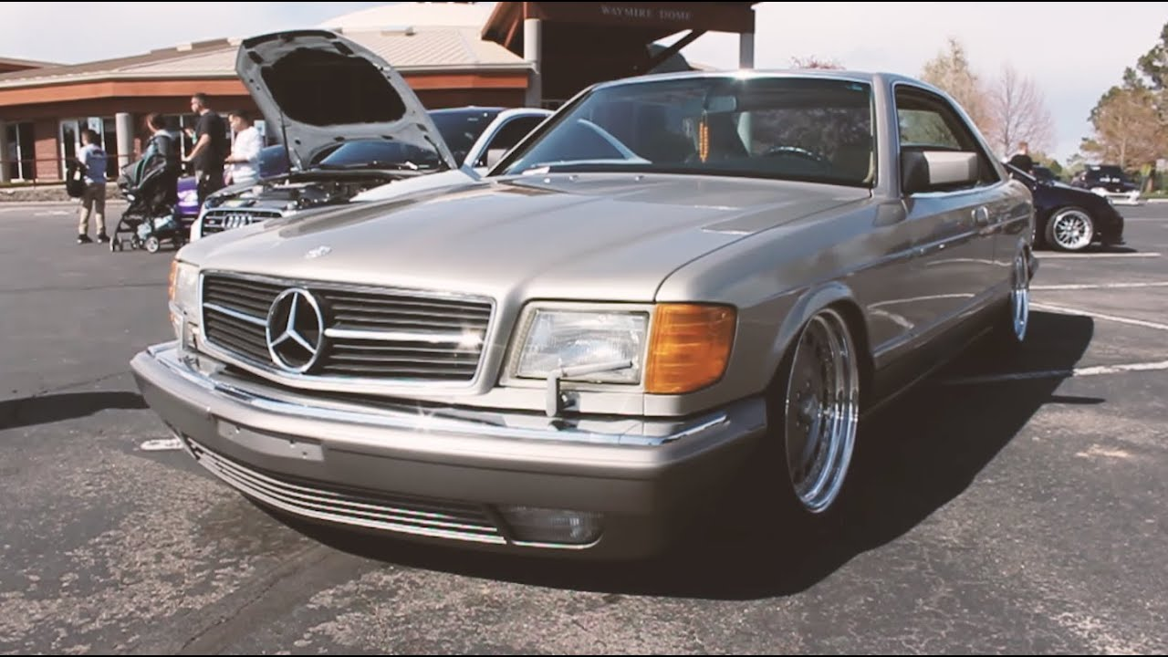 Bagged Mercedes 560 Sec on 18in wheels // Fitment Specs