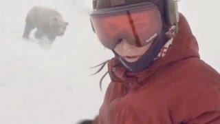 Сноубордистка и медведь! Snowboarder Girl Chased By Bear