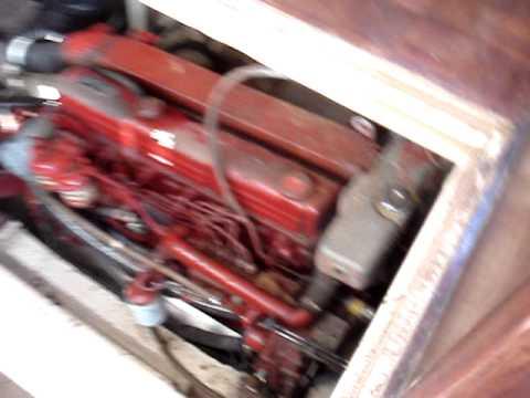 Very good cold start of 120 hp  Ford Lehman marine diesel ( port engine ) on GB42