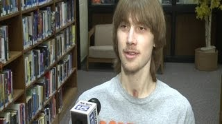 Noah Barbknecht interview after he receives check from St. Francis athletic department