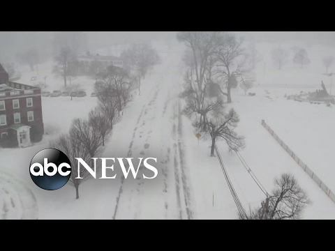 Drone soars over snowy New Jersey