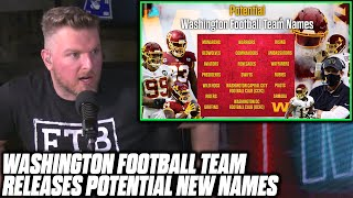 Pat McAfee Reacts To Washington Football Team's Poll For A New Name
